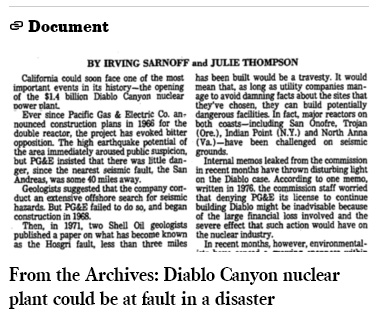 Diablo Canyon LA Times archives