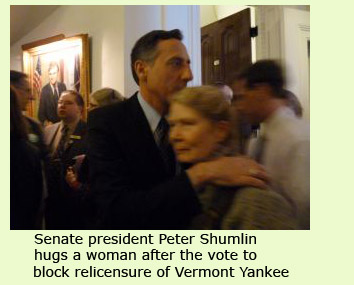 Peter Shumlin hugs supporter